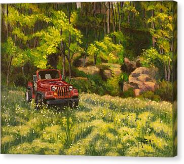 Jeep By The Bluff Canvas Print by Janet Felts