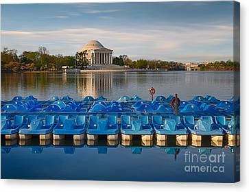 Jefferson Memorial And Paddle Boats Canvas Print by Jerry Fornarotto