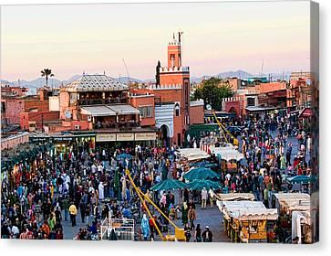 Jemaa El Fna Square At Dusk In Marrakesh Morroco Canvas Print by David Smith