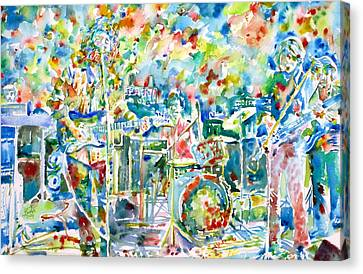 Jerry Garcia And The Grateful Dead Live Concert - Watercolor Portrait Canvas Print by Fabrizio Cassetta