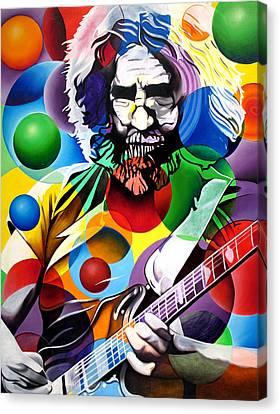 Jerry Garcia In Bubbles Canvas Print by Joshua Morton