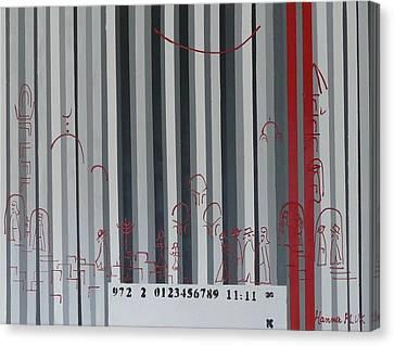 Jerusalem Black And Withe Barcode Canvas Print by Hanna Fluk