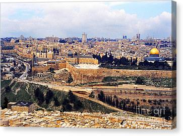 Jerusalem From Mount Olive Canvas Print by Thomas R Fletcher
