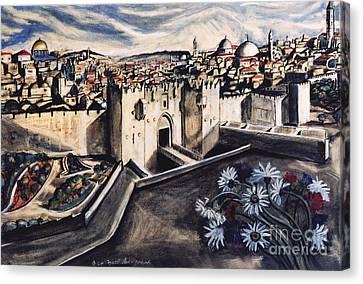 Jerusalem From The Damascus Gate Canvas Print by Yael Avi-Yonah