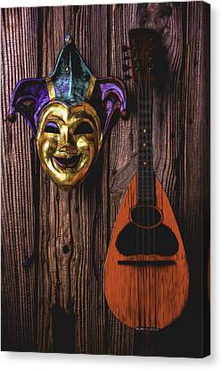 Jester Mask And Mandolin Canvas Print by Garry Gay