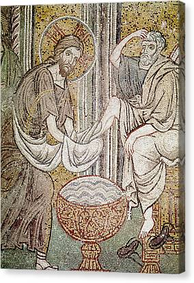 Jesus And Saint Peter, Detail From Jesus Washing The Feet Of The Apostle Mosaic Canvas Print by Byzantine School