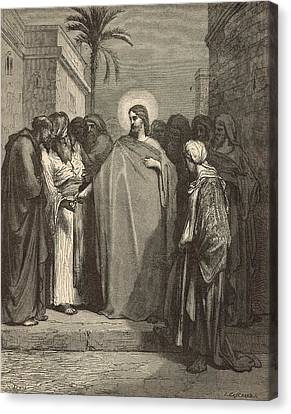 Jesus And The Tribute Money Canvas Print by Antique Engravings