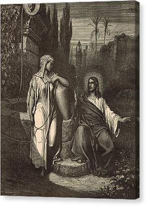 Jesus And The Woman Of Samaria Canvas Print by Antique Engravings