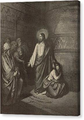 Jesus And The Woman Taken Into Adultery Canvas Print by Antique Engravings