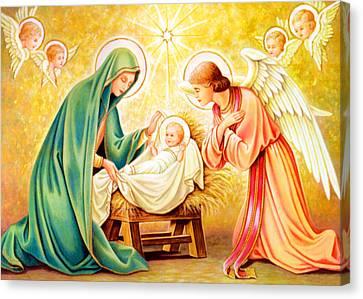 Jesus Birth Canvas Print by Munir Alawi