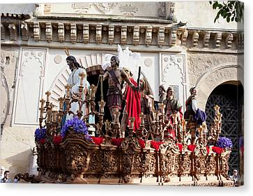 Jesus Christ And Roman Soldiers On Procession Canvas Print by Artur Bogacki