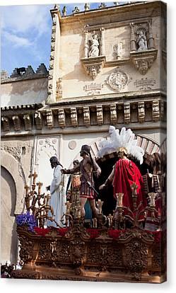Jesus Christ And Roman Soldiers On Procession Platform Canvas Print by Artur Bogacki