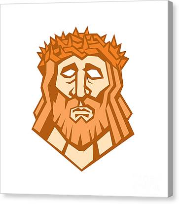 Jesus Christ Face Crown Thorns Retro Canvas Print by Aloysius Patrimonio