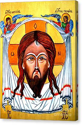 Jesus Christ Mandylion Icon Canvas Print by Ryszard Sleczka