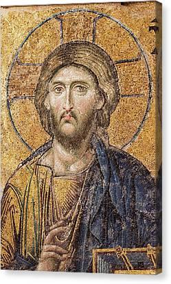 Jesus Christ Mozaic Hagia Sofia Mosque. Canvas Print by David Parker