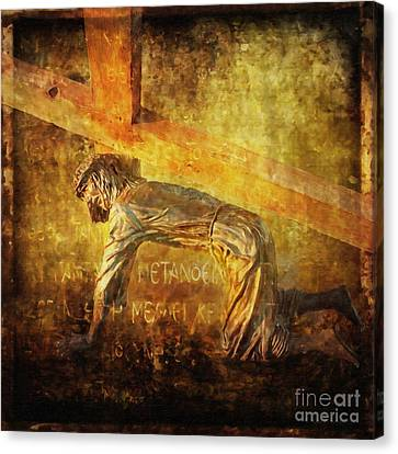 Jesus Falls Again Via Dolorosa 7 Canvas Print by Lianne Schneider