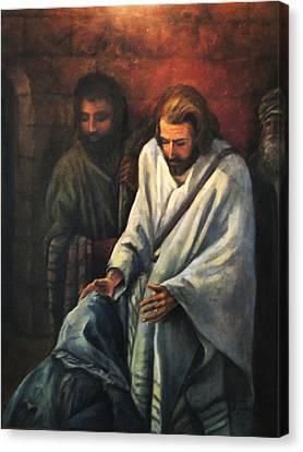 Jesus Healing Beggar Canvas Print by Donna Tucker