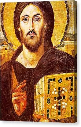 Jesus Icon At Saint Catherine Monastery Canvas Print by Munir Alawi