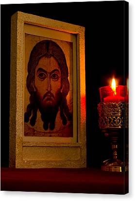 Jesus Icon Not Made With Hands Canvas Print by Richard Singleton