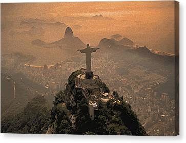 Jesus In Rio Painted Canvas Print by Christian Heeb
