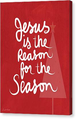 Jesus Is The Reason For The Season- Greeting Card Canvas Print by Linda Woods
