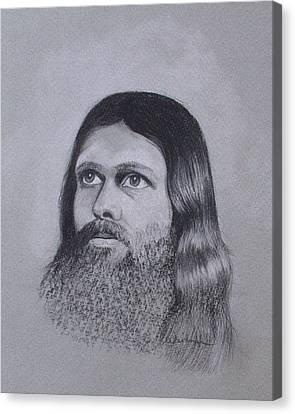 Jesus Looking To Heaven Canvas Print by Kathy Weidner