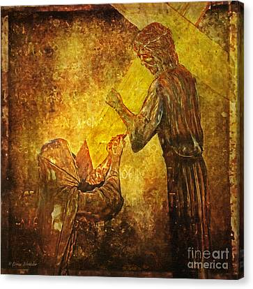 Jesus Meets His Mother Via Dolorosa 4  Canvas Print by Lianne Schneider