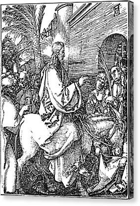 Jesus On The Donkey Palm Sunday Etching Canvas Print by