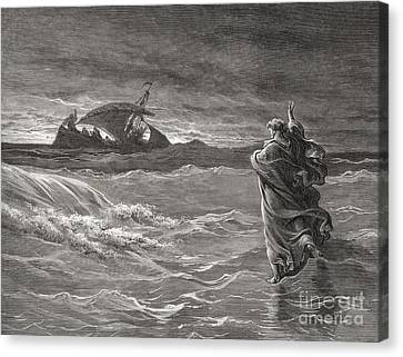Jesus Walking On The Sea John 6 19 21 Canvas Print by Gustave Dore