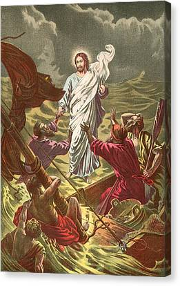 Jesus Walking On The Water Canvas Print by Anonymous
