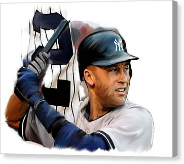 Jeter II  Derek Jeter Canvas Print by Iconic Images Art Gallery David Pucciarelli