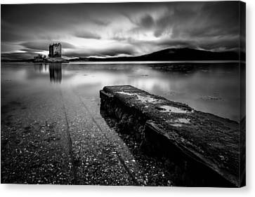 Jetty To Castle Stalker Canvas Print by Dave Bowman