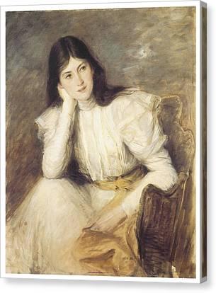 Jeune Fille Reveuse Portrait De Berthi Capel Canvas Print by Jacques-Emile Blanche