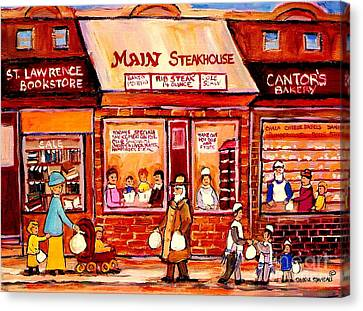 Jewish Montreal Vintage City Scenes Cantor's Bakery Canvas Print by Carole Spandau