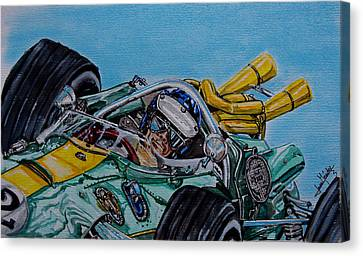 Jim Clark Indy 500 Canvas Print by Juan Mendez