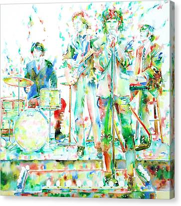 Jim Morrison And The Doors Live On Stage- Watercolor Portrait Canvas Print by Fabrizio Cassetta