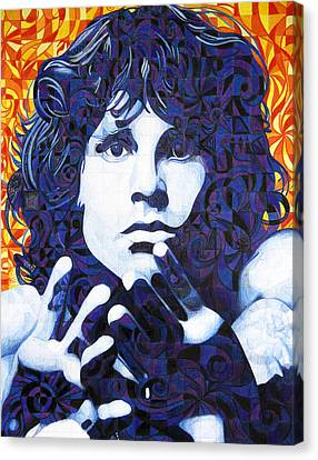 Jim Morrison Chuck Close Style Canvas Print by Joshua Morton