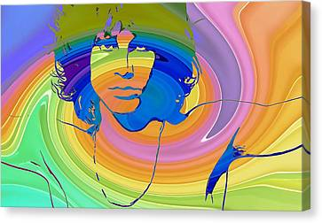 Jim Morrison Color Warp Canvas Print by Dan Sproul
