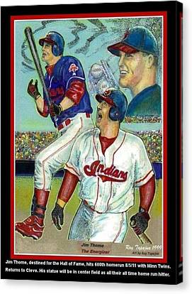 Jim Thome Cleveland Indians Canvas Print by Ray Tapajna