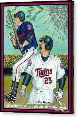Jim Thome Hits 600th With Twins Canvas Print by Ray Tapajna
