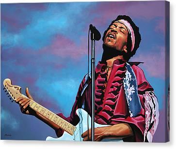Jimi Hendrix Painting 2 Canvas Print by Paul Meijering