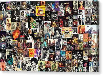 Jimi Hendrix Collage Canvas Print by Taylan Soyturk