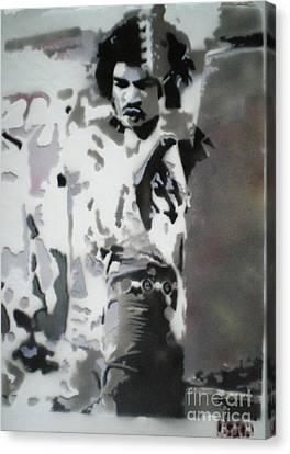 Jimi Hendrix  On Plexiglass Canvas Print by Barry Boom