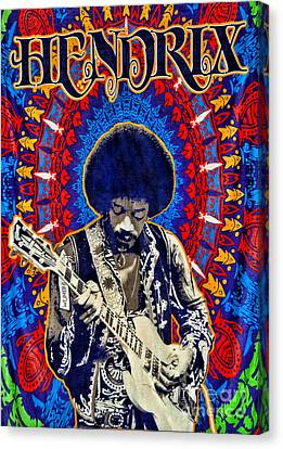 Jimi Hendrix Canvas Print by Peter Dang