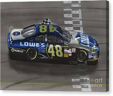 Jimmie Johnson Wins Canvas Print by Paul Kuras