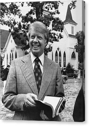 Jimmy Carter Holding His Bible Canvas Print by Underwood Archives
