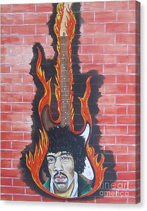 Jimmy Hendrix And Guitar Canvas Print by Jeepee Aero