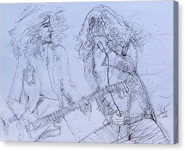 Jimmy Page And Robert Plant Live Concert-pen Portrait Canvas Print by Fabrizio Cassetta
