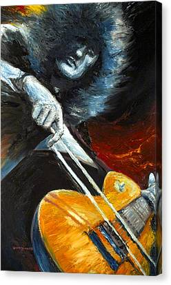 Jimmy Page Dazed And Confused Canvas Print by Mike Underwood