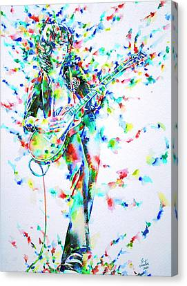 Jimmy Page Playing The Guitar - Watercolor Portrait Canvas Print by Fabrizio Cassetta